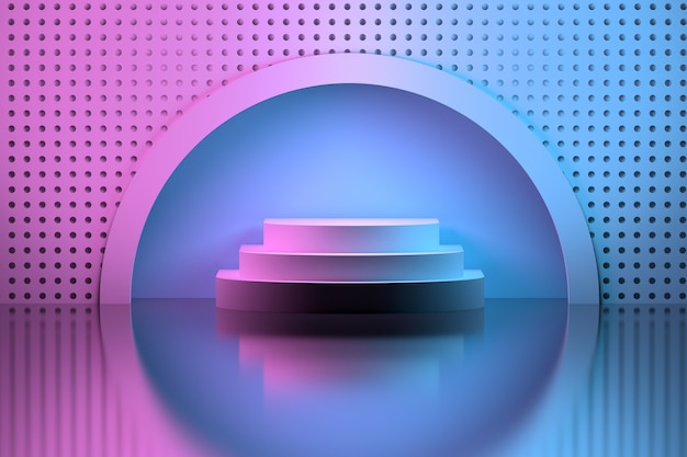 Pedestal in a circular niche over mirror surface