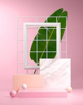Pedestal cube steps pink  with banana leaf background 3d render Premium Photo