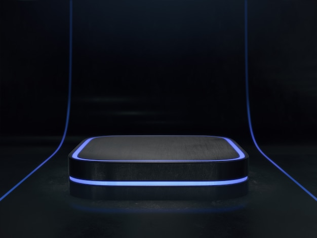Pedestal for display background,platform for design,blank product stand with light glow.3d rendering.