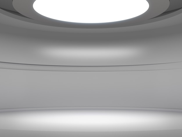 Pedestal for display in empty white room with lights from above, blank product stand.
