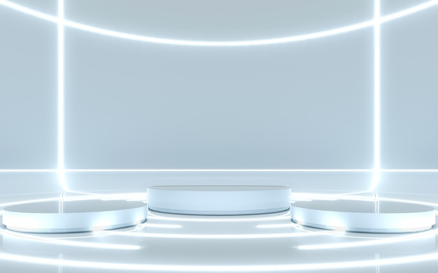 Pedestal for display with light glow. 3d rendering
