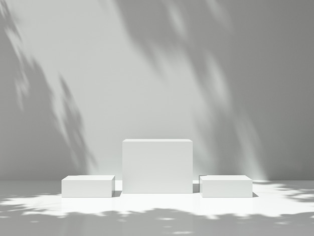 Pedestal for display with tree shadow on the wall