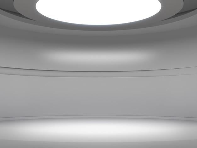 空の白い部屋のディスプレイ用台座、上からの照明、ブランク製品スタンド。