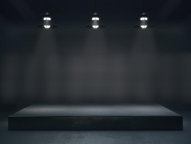 Пьедестал для дисплея, платформа для дизайна, стенд с пустым световым пятном. 3d рендеринг.
