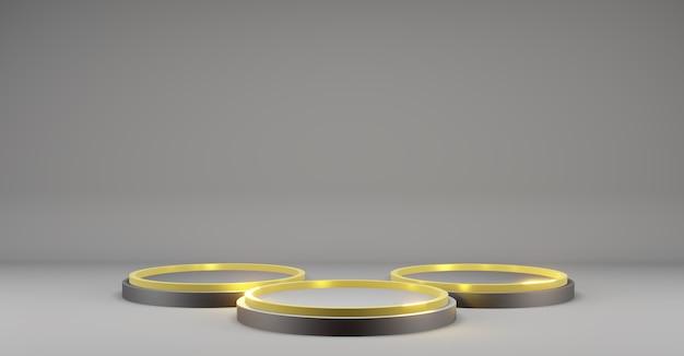 복사 공간이 있는 모형 템플릿용 받침대 금색 및 검은색 어두운 옻칠 받침대 제품 전시회 3d 그림