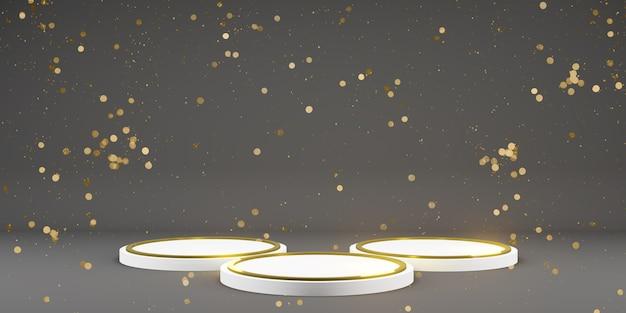 복사 공간이 있는 모형 템플릿용 받침대 금색 및 검은색 어두운 옻칠 받침대 제품