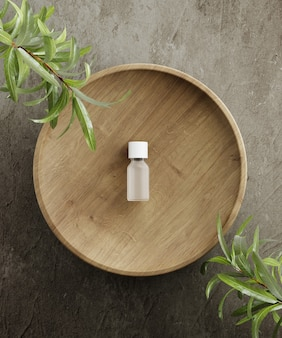 自然化粧品のプレゼンテーション用台座植物の葉のある石と木のシリンダーdイラスト