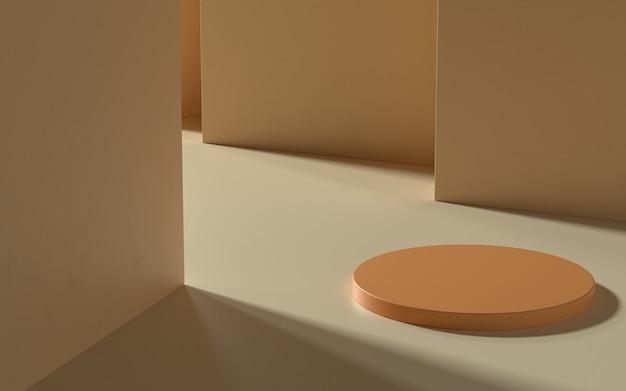 직사광선이 비치는 제품 디스플레이 또는 배너 프로모션용 받침대. 3d 일러스트