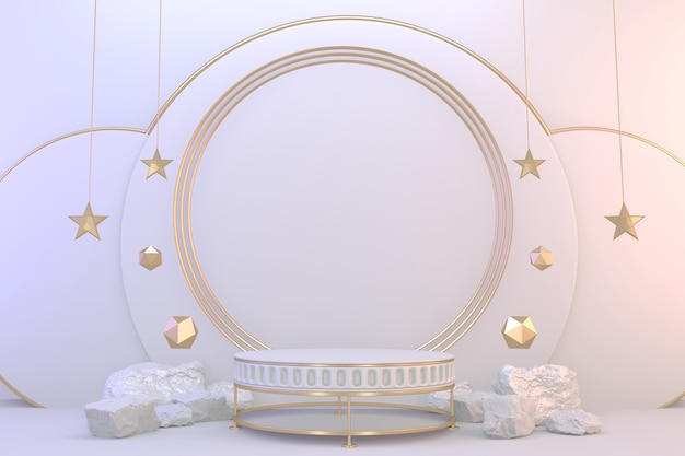 台座化粧品用のモダンな白い表彰台の空白スペース。 3dレンダリング