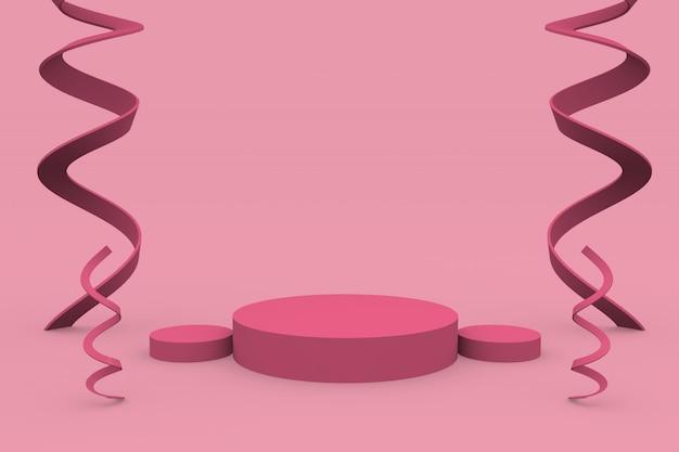 ピンクの背景にモダンなスタンドの表彰台とプラットフォームディスプレイの台座