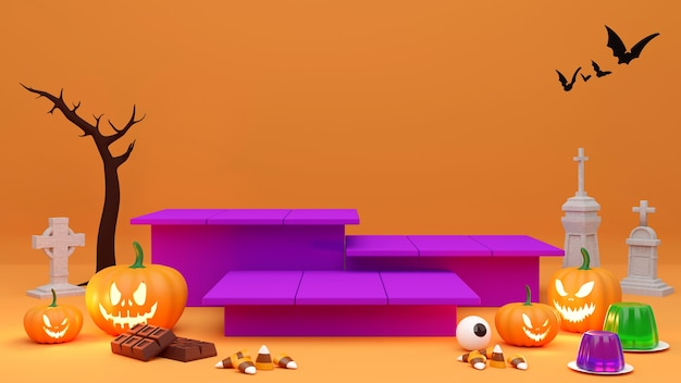 Подиум постамента на оранжевом фоне. , продвижение продукции на хеллоуин. абстрактный жуткий 3d-рендеринг.