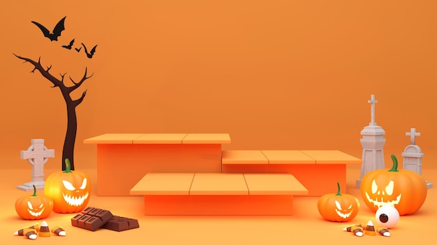 Pedestal podium on orange background. , halloween product promotion. abstract spooky 3d rendering.
