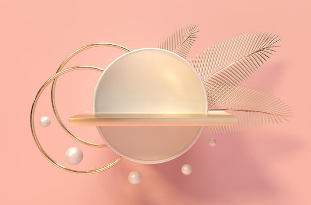 Пьедестал, полка и ниша пальмовые листья золотой блеск 3d визуализация ступени подиума для продвижения бренда продукта креативный розовый фон для рекламной презентации макет основания стенда