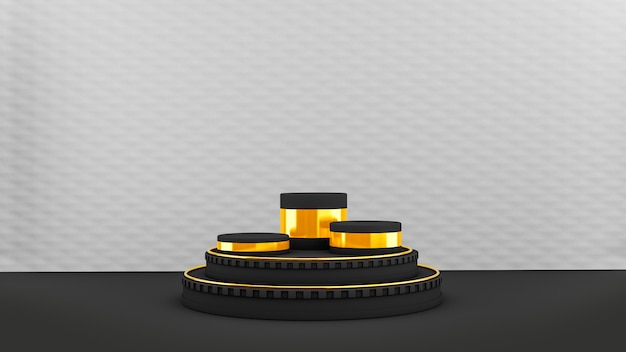 검정색과 금색 원 모양의 받침대