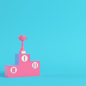 Pedestal with trophy cup 3d rendering