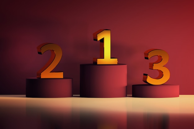 Pedestals with golden numbers for winners. competition and ceremony symbols in luxurious