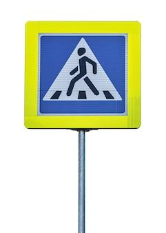 Знак пешеходного перехода, изолированные на белом фоне.