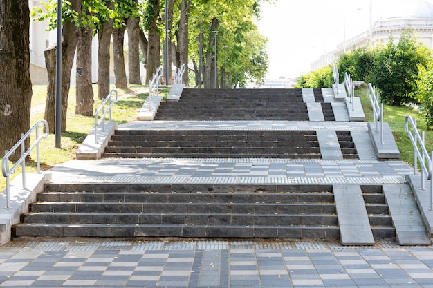 Pedestrian road and steps for the disabled in the city.