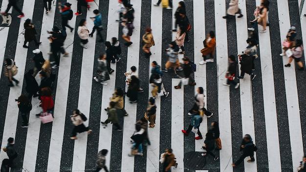 Пешеходы переходят пешеходный переход в сибуя, япония