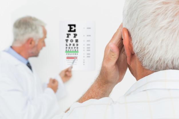 視力検査を指導している高齢者の小児科の眼科医