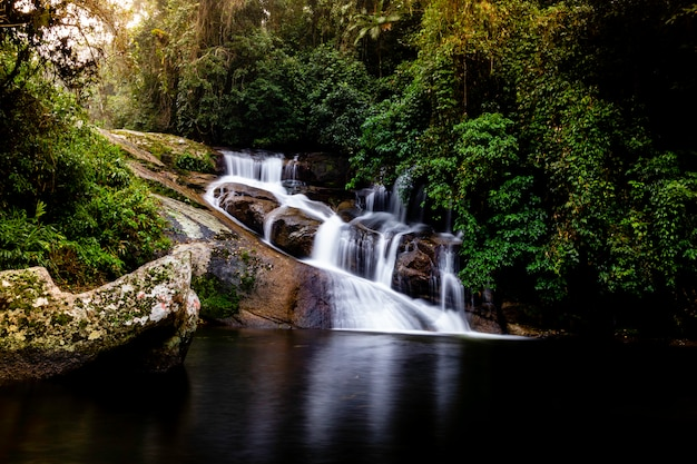 Pedra branca waterfall, paraty, rio de janeiro, brazil.