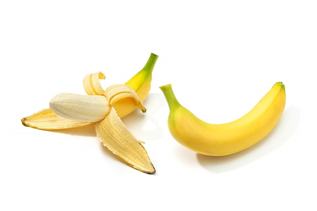 Peeled banana and banana isolated