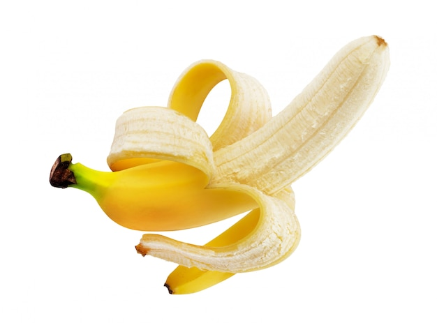 Peeled banana isolated on white with clipping path