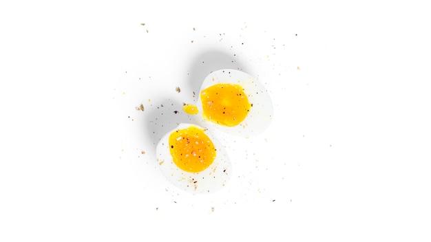 Peeled boiled egg halves isolated. egg half.