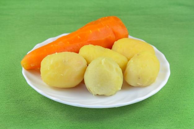 白い皿に茹でた野菜の皮をむいた