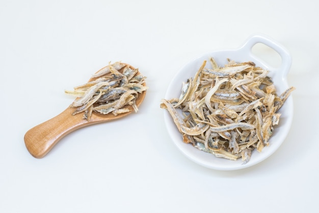 Peeled dried small fish used in asian cuisine