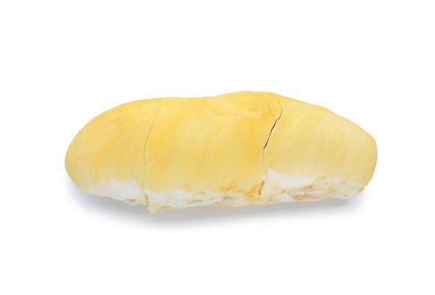 白い背景で隔離の皮をむいたドリアンフルーツ。東南アジア、タイの果物の王