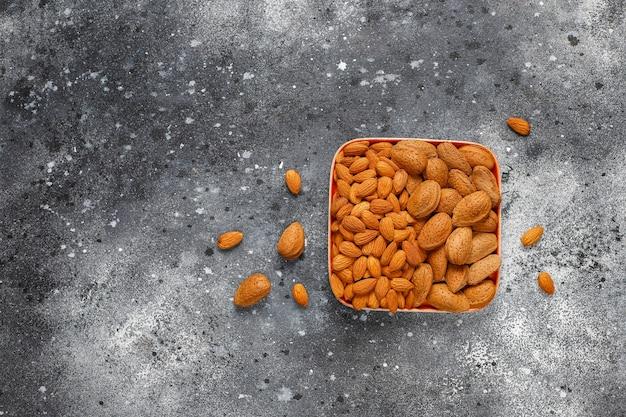 Peeled organic almond nuts.