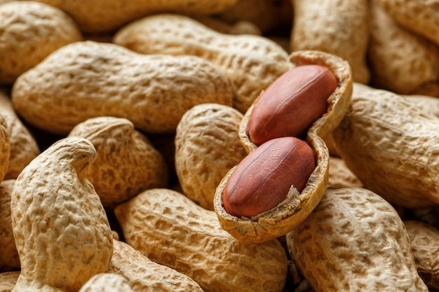 Peeled peanut on well peanuts