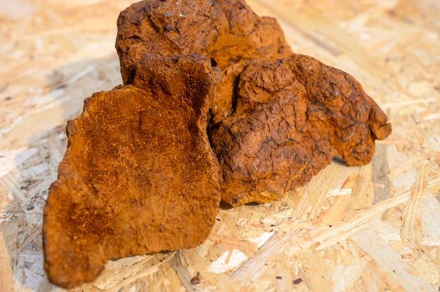 Очищенный лесной гриб чага для заваривания натурального грибного чая на деревянной поверхности