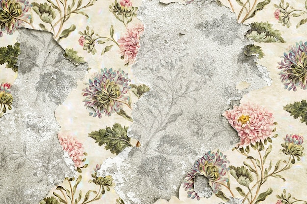 Peeling floral wallpaper on concrete wall