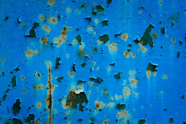Peeling paint blue rusted wall, rusted texture