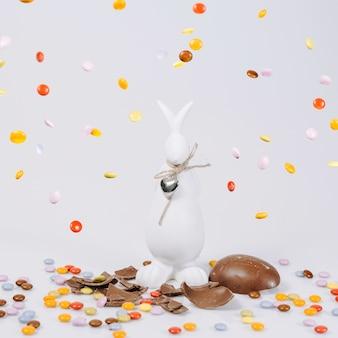 Pellets galling on rabbit statuette