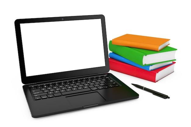 Ручка и стопка книг возле современного портативного компьютера с пустым экраном для вашего дизайна на белом фоне. 3d рендеринг