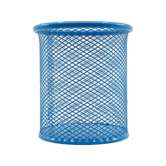 Pen basket color blue isolated in white background.
