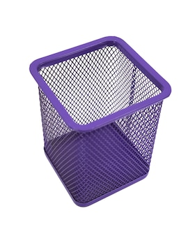 Pen basket color purple isolated in white background.