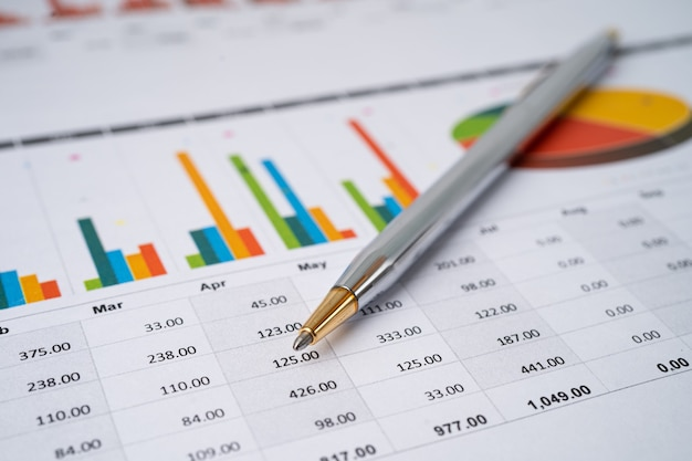 Pen on chart graph paper. financial development, banking account, statistics, investment analytic research data economy, trading, business company concept.