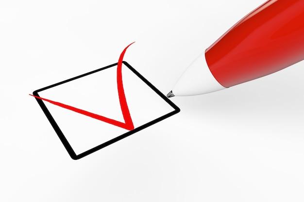 白い背景の上のチェックリストボックスに赤いマークを描くペン