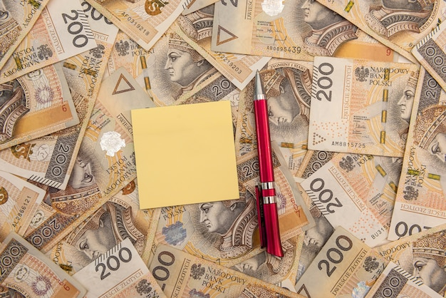 Pen and empty notepad on polish currency. business concept