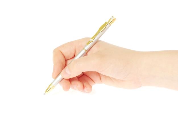 흰색 배경에 고립 된 여자 손에 펜