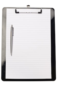 Pen on the left of note pad