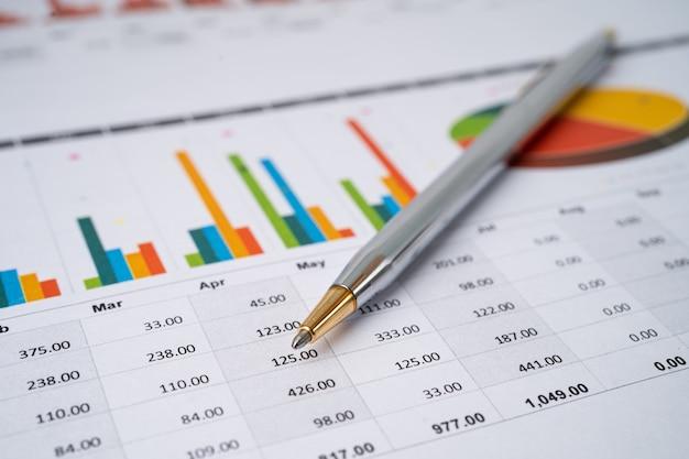 チャート方眼紙にペン。金融開発、銀行口座、統計、投資分析研究データ経済、取引、事業会社のコンセプト。