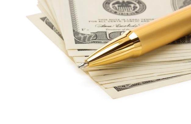 白い背景で隔離のドル紙幣紙幣のペン