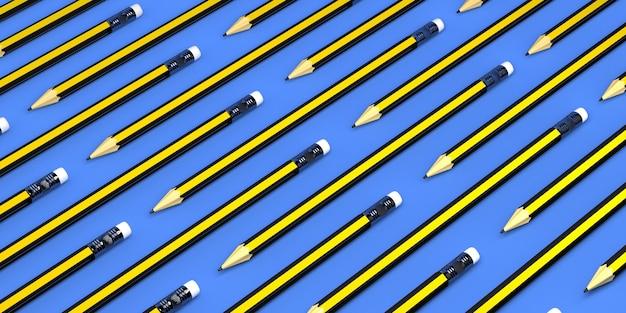 연필 배너 패턴 3d 그림 학교로 돌아가기