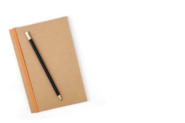Pencil on book business concept, background white isolated background