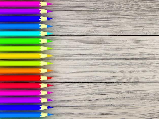 木製のテーブルの鉛筆の色